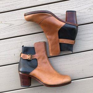 J Crew Hardwick Tan Leather Heeled Booties, 9.5